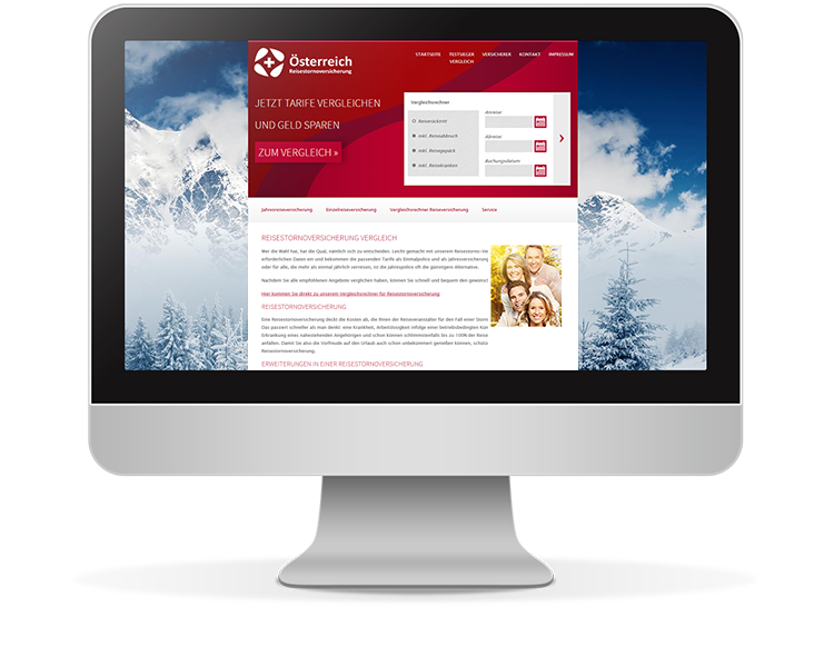 Reisestornoversicherung Website